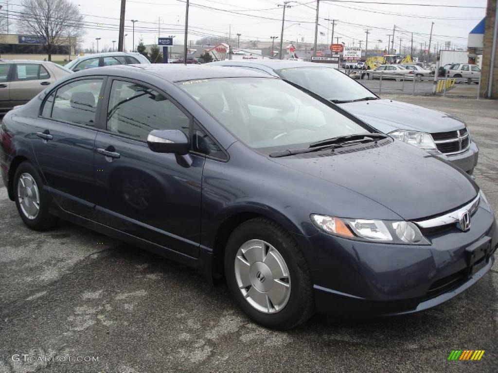 2008 Civic Hybrid Sedan   Magnetic Pearl / Blue Photo #1