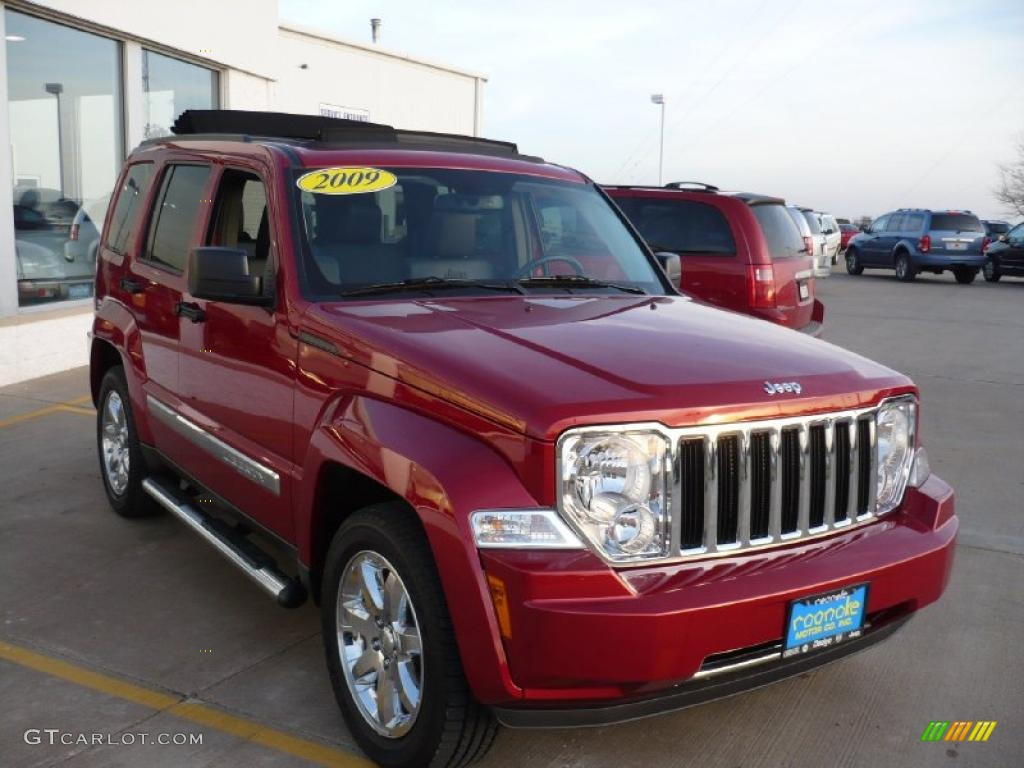 2009 inferno red crystal pearl jeep liberty limited 4x4 #27771046