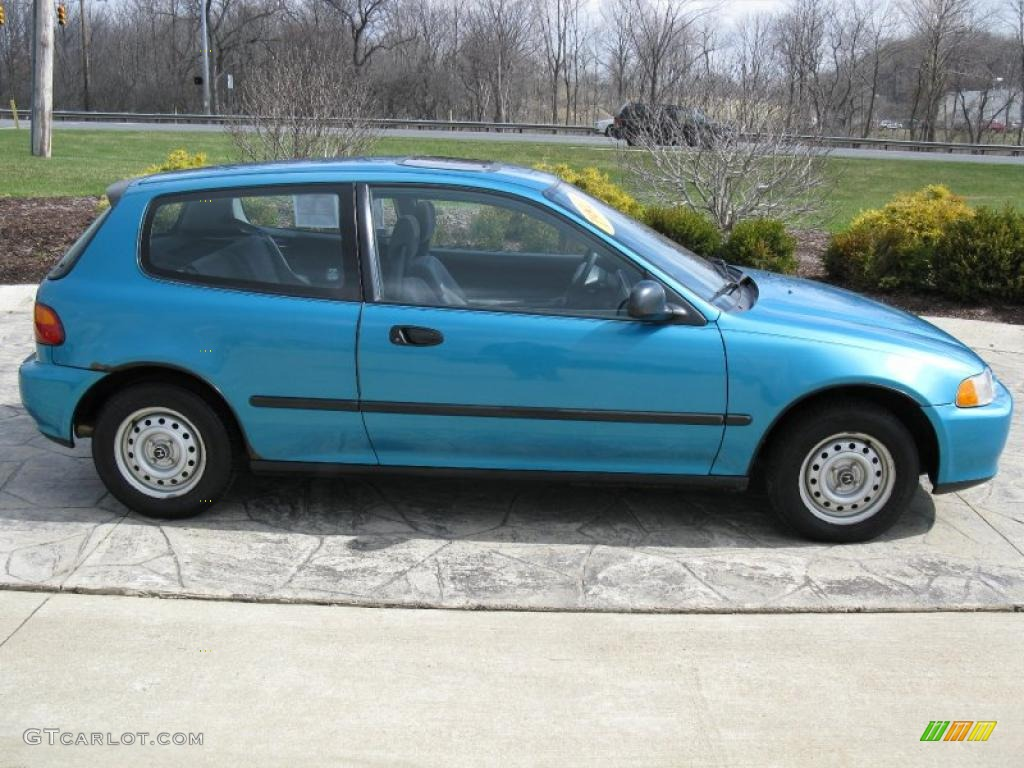 1992 Civic DX Hatchback   Harvard Blue Pearl / Gray Photo #3