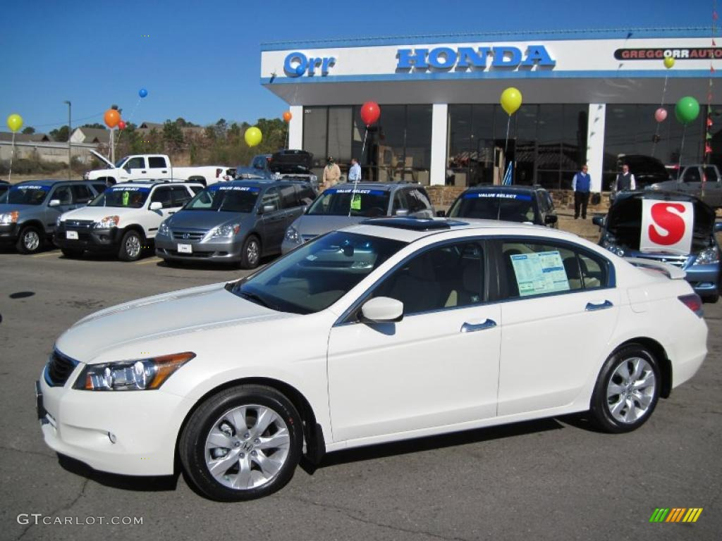 2010 White Diamond Pearl Honda Accord Ex L V6 Sedan