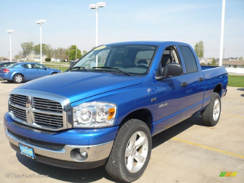 2008 electric blue pearl dodge ram 1500 big horn edition quad cab 4x4 28527569. Black Bedroom Furniture Sets. Home Design Ideas