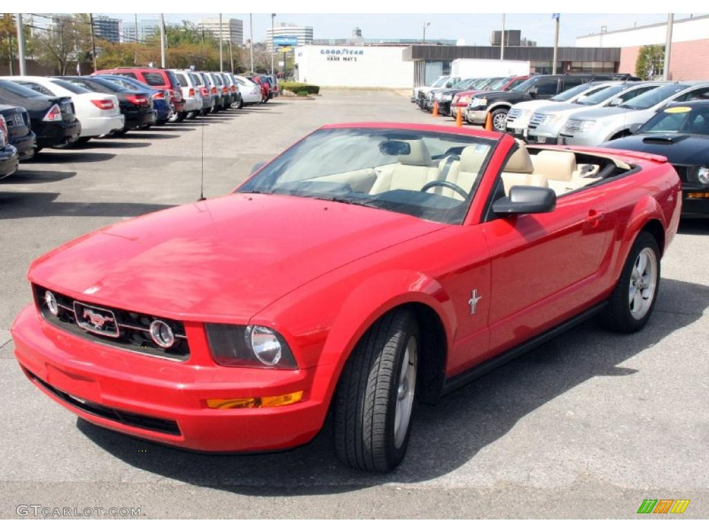 2007 Mustang V6 Premium Convertible - Torch Red / Medium Parchment photo #1