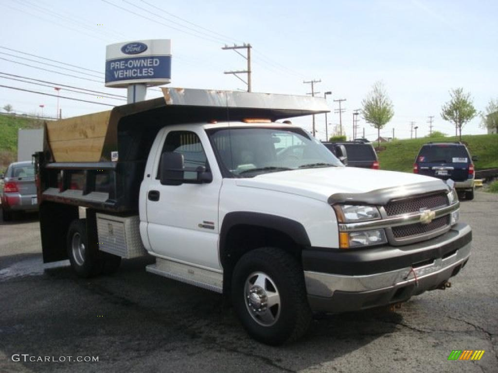 2003 Silverado 3500 Regular Cab 4x4 Chassis Dump Truck - Summit White / Dark Charcoal photo #1