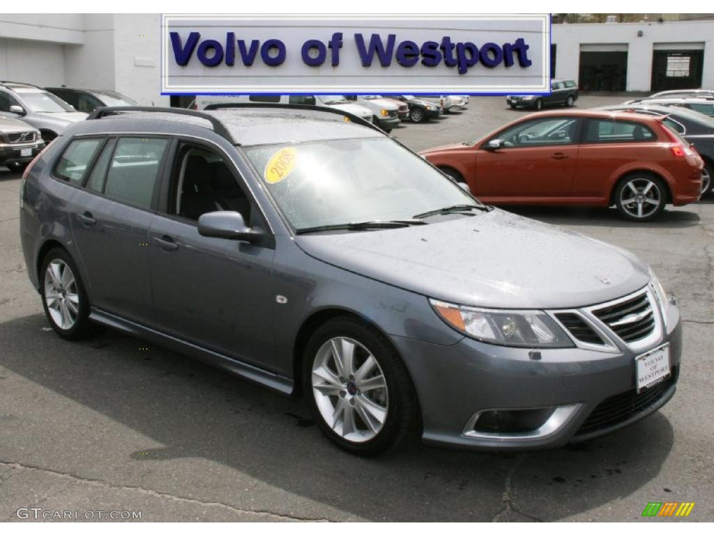 2008 steel gray metallic saab 9 3 aero sportcombi wagon. Black Bedroom Furniture Sets. Home Design Ideas