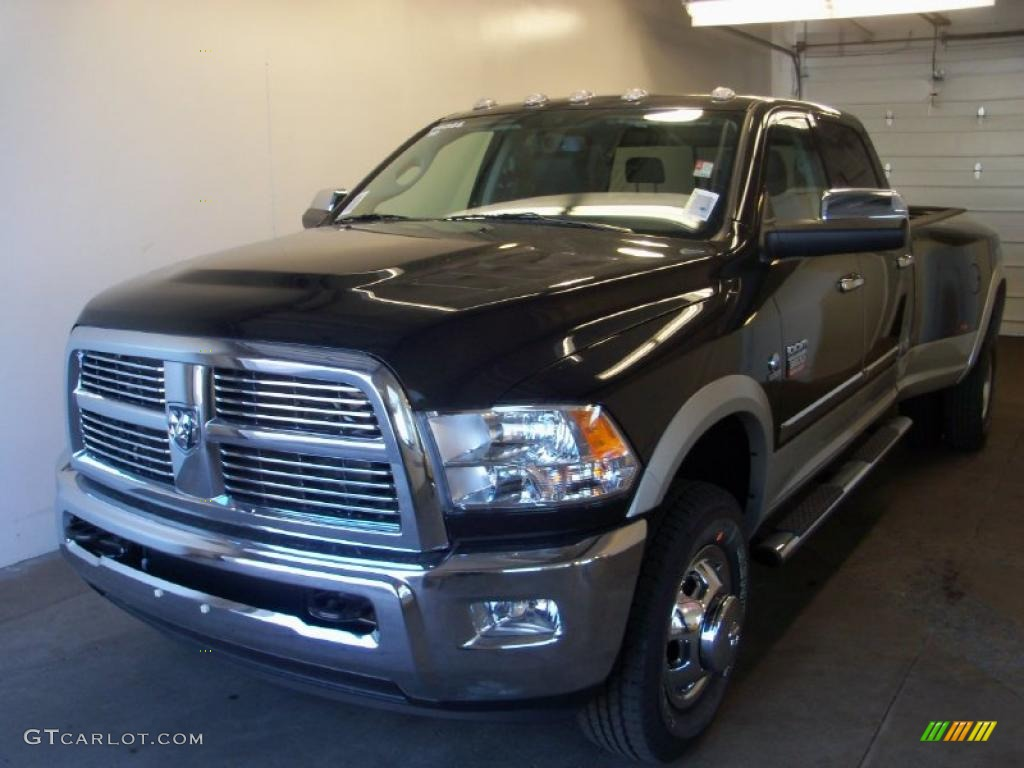 2010 Ram 3500 Laramie Crew Cab 4x4 Dually - Brilliant Black Crystal Pearl / Dark Slate photo #1