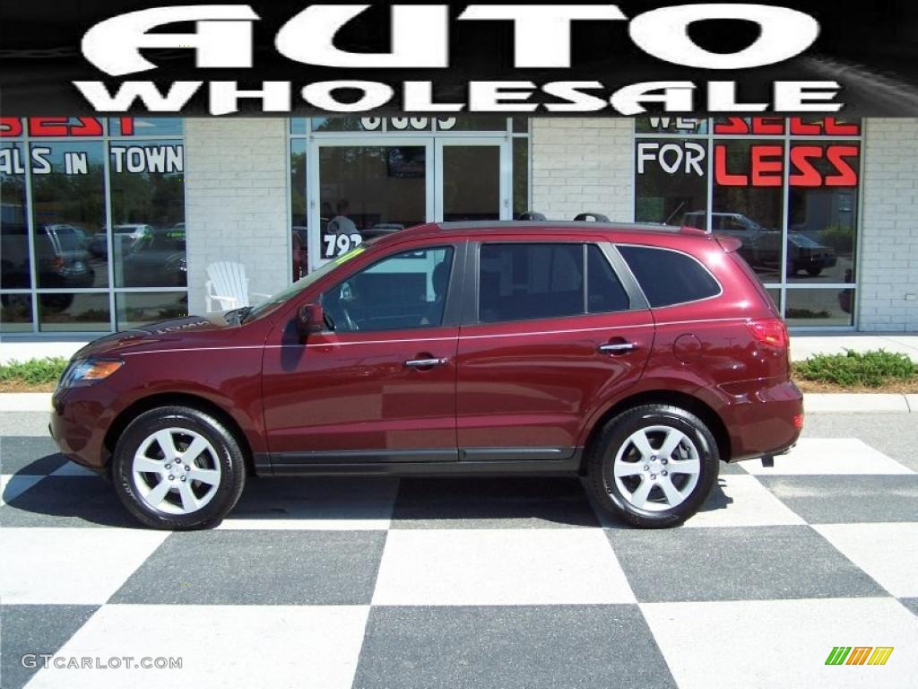 2007 dark cherry red hyundai santa fe limited 29342754. Black Bedroom Furniture Sets. Home Design Ideas