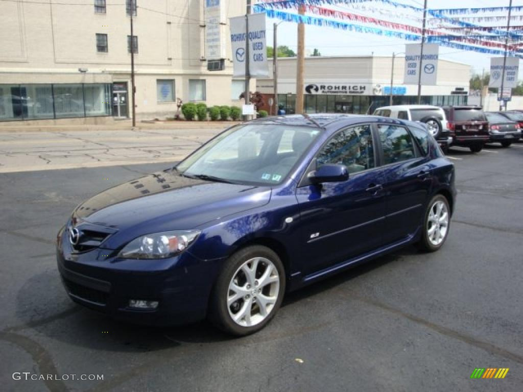 2008 stormy blue mica mazda mazda3 s touring hatchback 29483376 car color. Black Bedroom Furniture Sets. Home Design Ideas