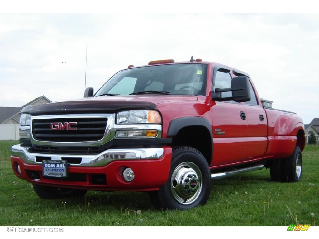 2006 sierra 3500 slt crew cab 4x4 dually fire red dark pewter photo