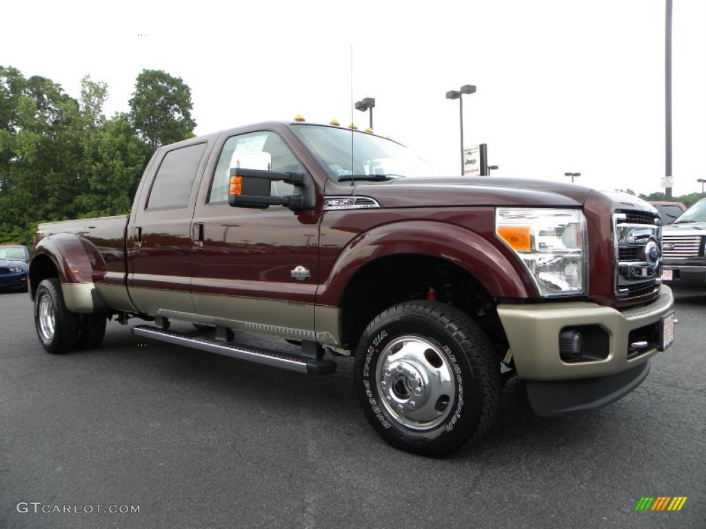 2011 f350 super duty king ranch crew cab 4x4 dually royal red metallic chaparral