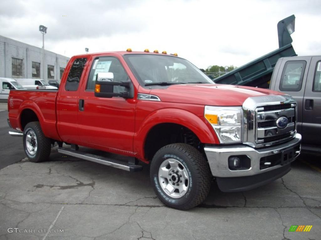 2011 Vermillion Red Ford F250 Super Duty Xlt Supercab 4x4  30213968