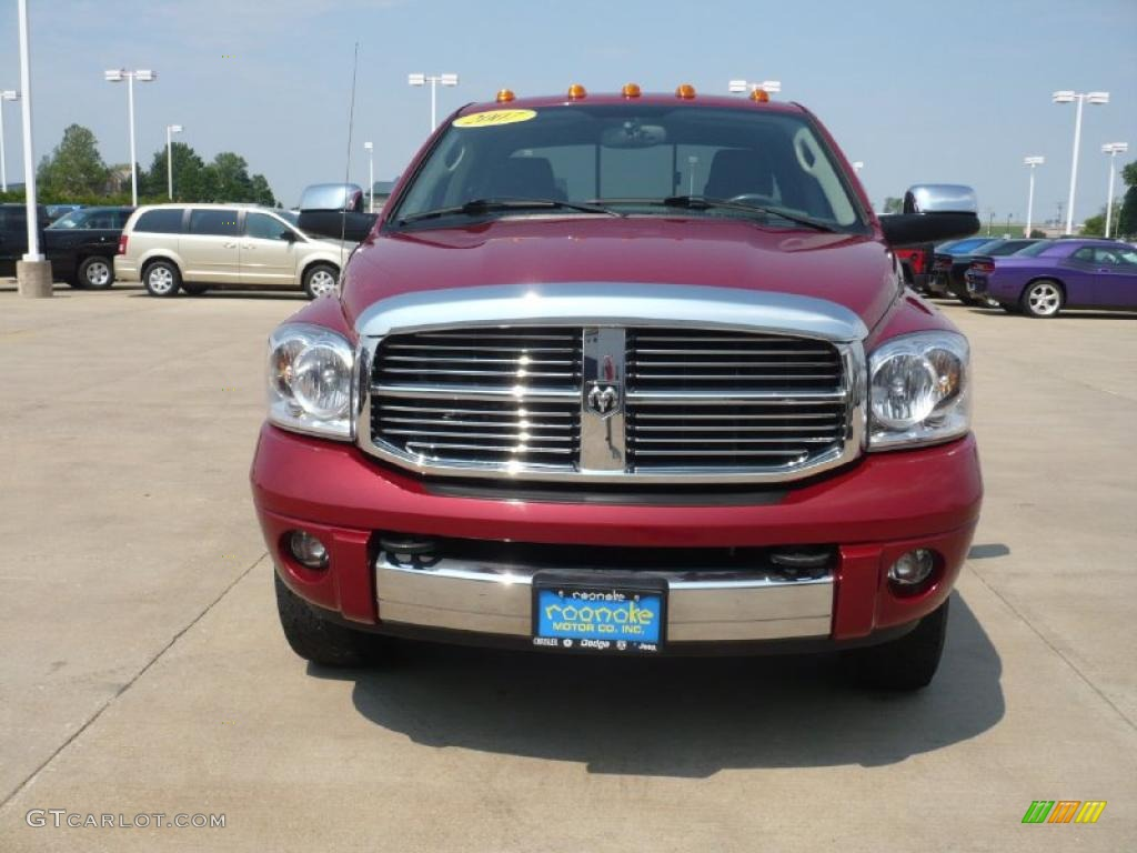 2007 Ram 3500 Laramie Quad Cab 4x4 - Inferno Red Crystal Pearl / Medium Slate Gray photo #2
