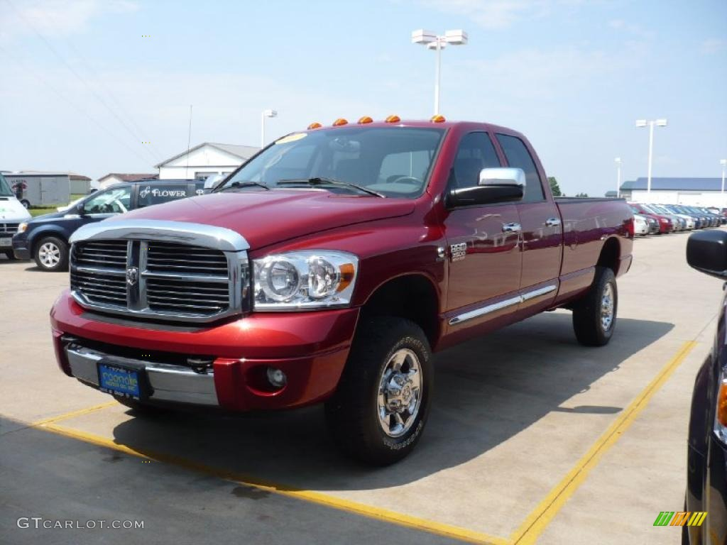 2007 Ram 3500 Laramie Quad Cab 4x4 - Inferno Red Crystal Pearl / Medium Slate Gray photo #5
