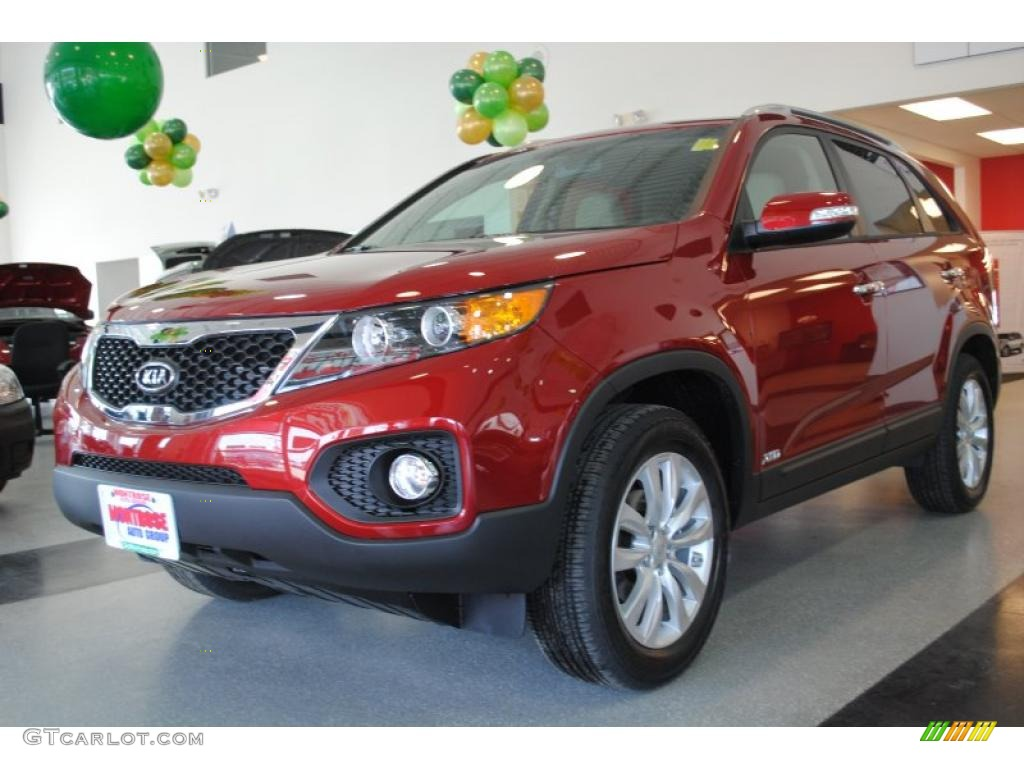 2011 Sorento EX AWD - Spicy Red / Beige photo #3