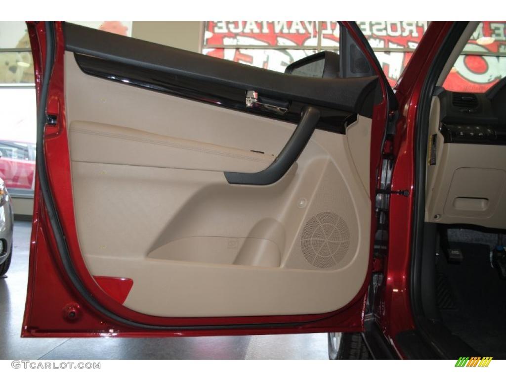 2011 Sorento EX AWD - Spicy Red / Beige photo #47