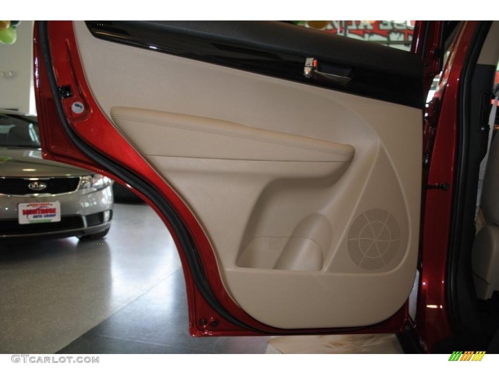 2011 Sorento EX AWD - Spicy Red / Beige photo #48
