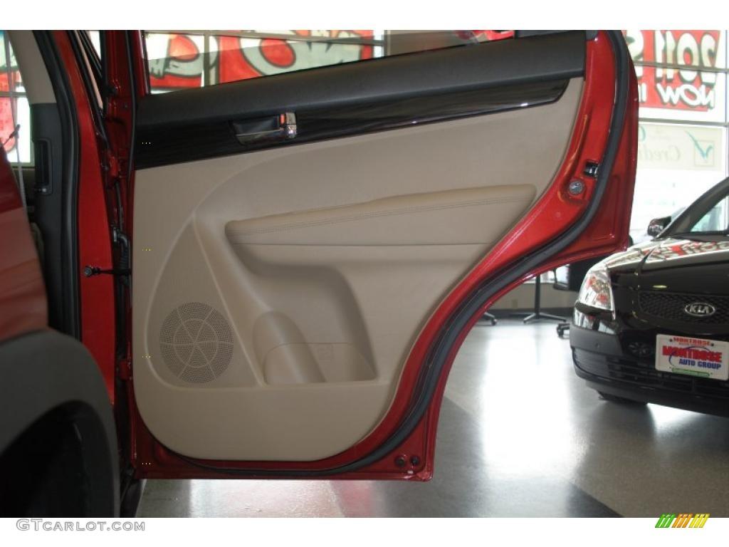 2011 Sorento LX AWD - Spicy Red / Beige photo #48
