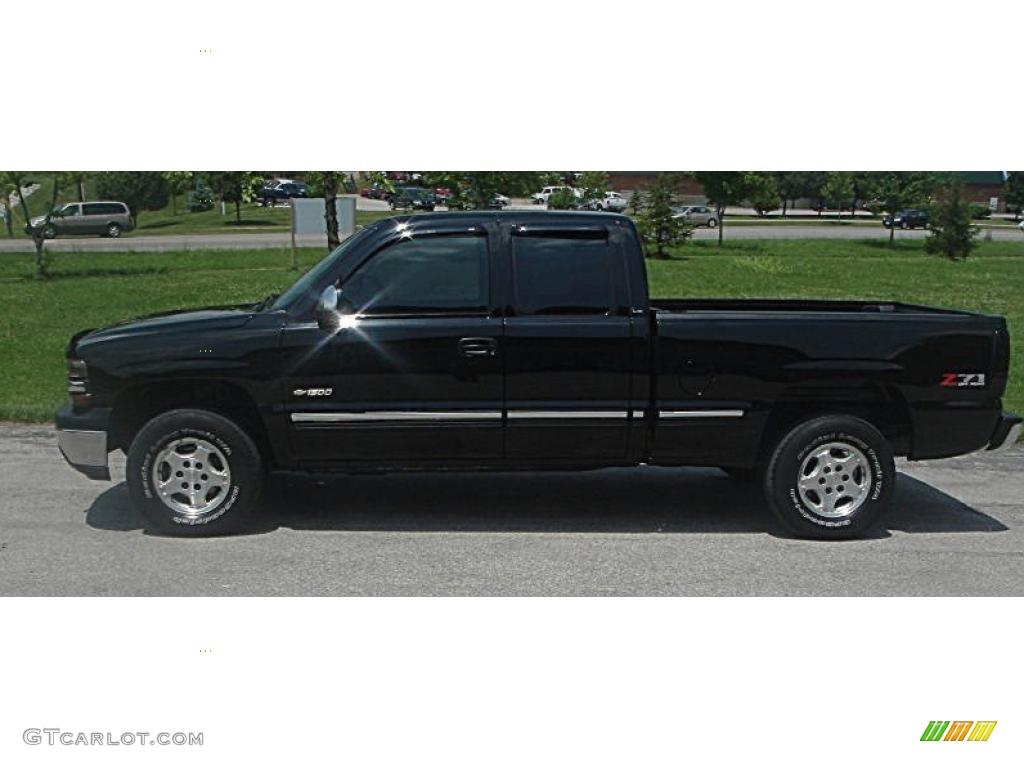 2002 Silverado 1500 LS Extended Cab 4x4 - Onyx Black / Graphite Gray photo #12