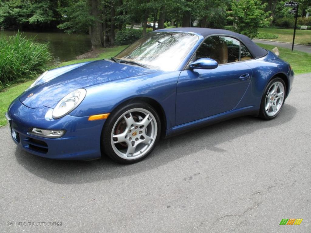 2007 911 Carrera 4 Cabriolet - Cobalt Blue Metallic / Natural Leather Brown photo #1