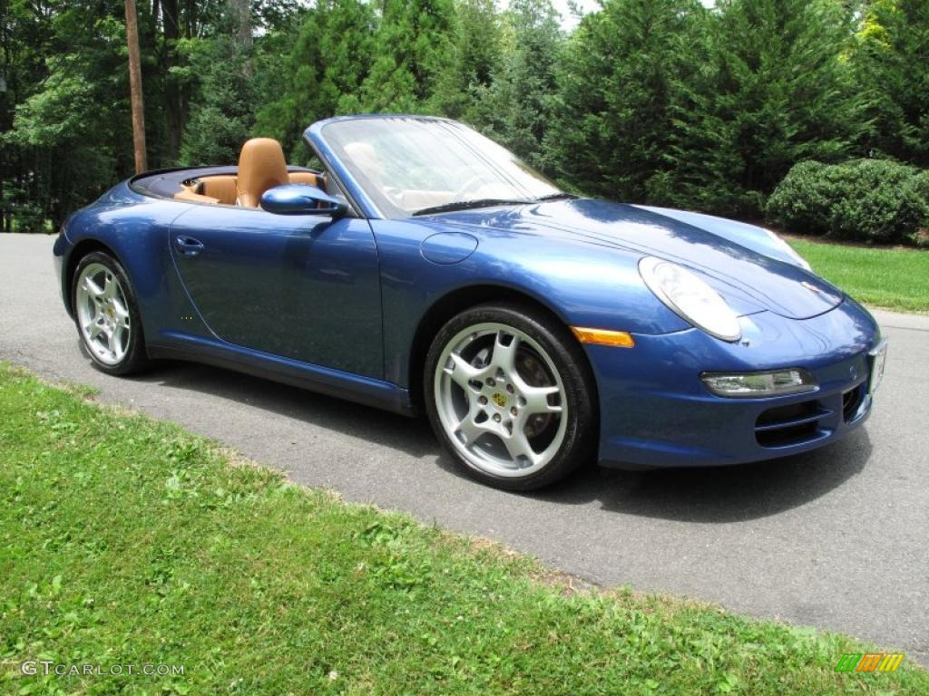 2007 911 Carrera 4 Cabriolet - Cobalt Blue Metallic / Natural Leather Brown photo #8