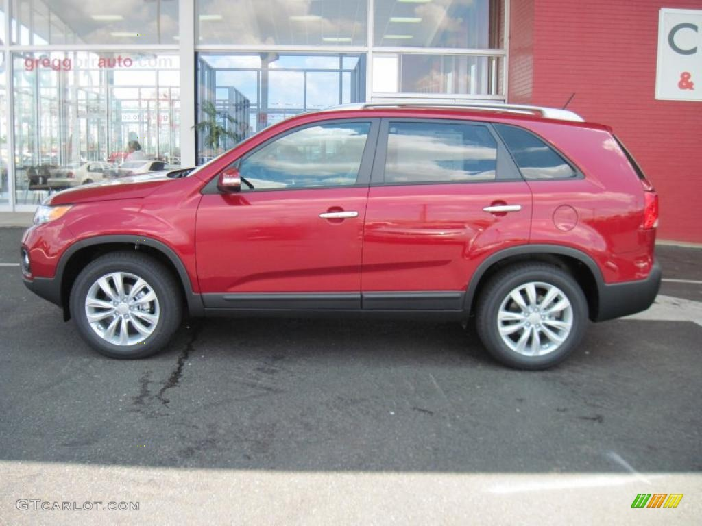 2011 Sorento LX V6 - Spicy Red / Gray photo #3