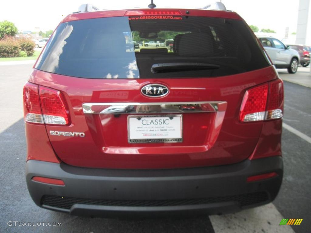 2011 Sorento LX V6 - Spicy Red / Gray photo #6