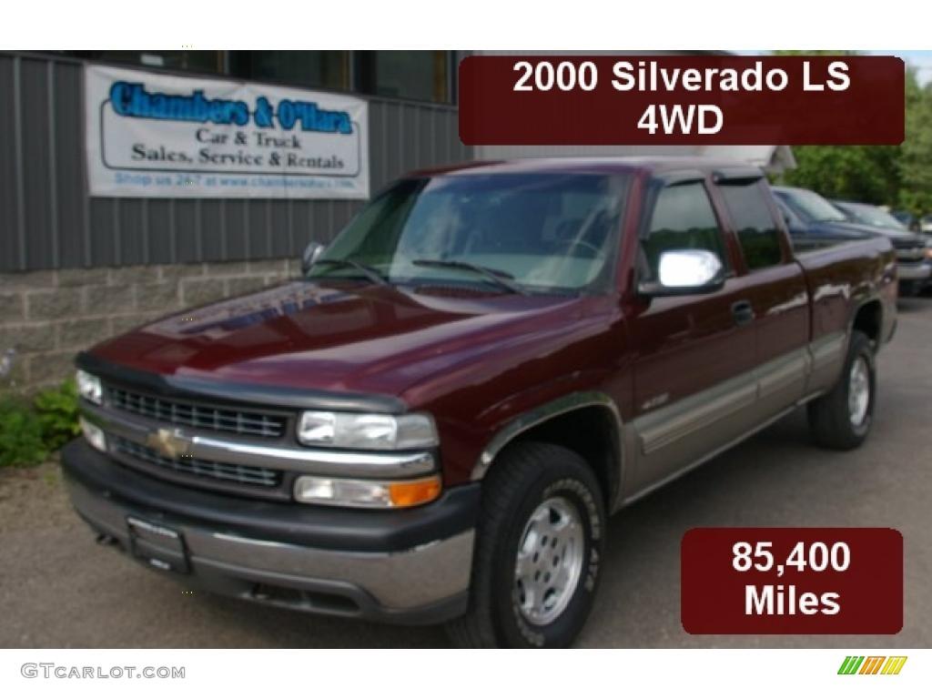 2000 Silverado 1500 LS Extended Cab 4x4 - Dark Carmine Red Metallic / Medium Gray photo #1