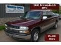 2000 Dark Carmine Red Metallic Chevrolet Silverado 1500 LS Extended Cab 4x4  photo #1
