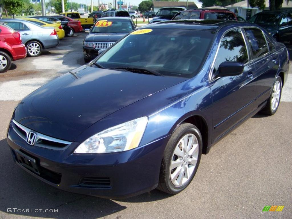 2007 Royal Blue Pearl Honda Accord Ex L V6 Sedan 32391758