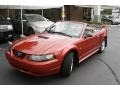 2001 Laser Red Metallic Ford Mustang V6 Convertible  photo #1