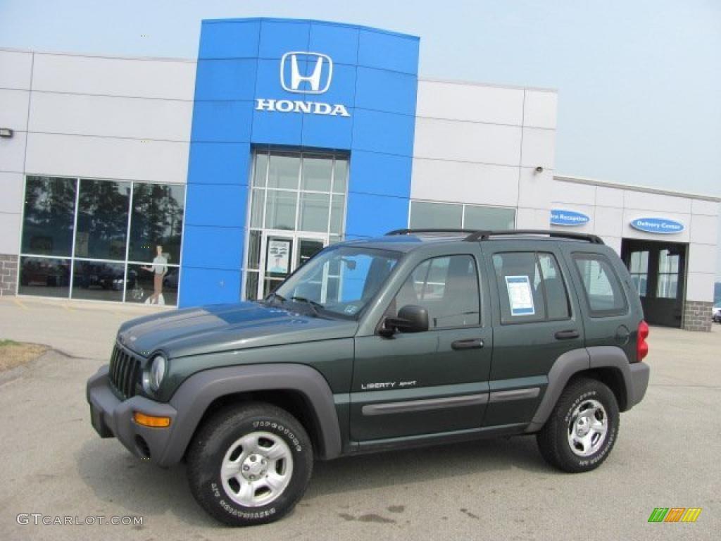 2003 shale green metallic jeep liberty sport 4x4 #32683017