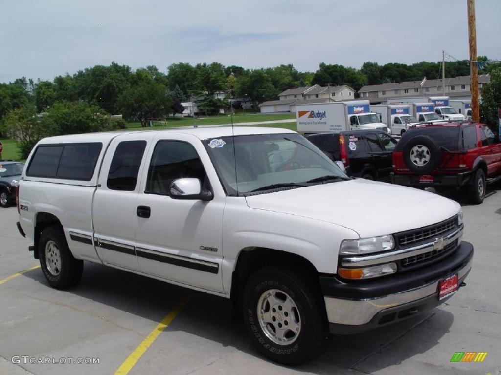 2000 Silverado 1500 LS Extended Cab 4x4 - Summit White / Medium Gray photo #2