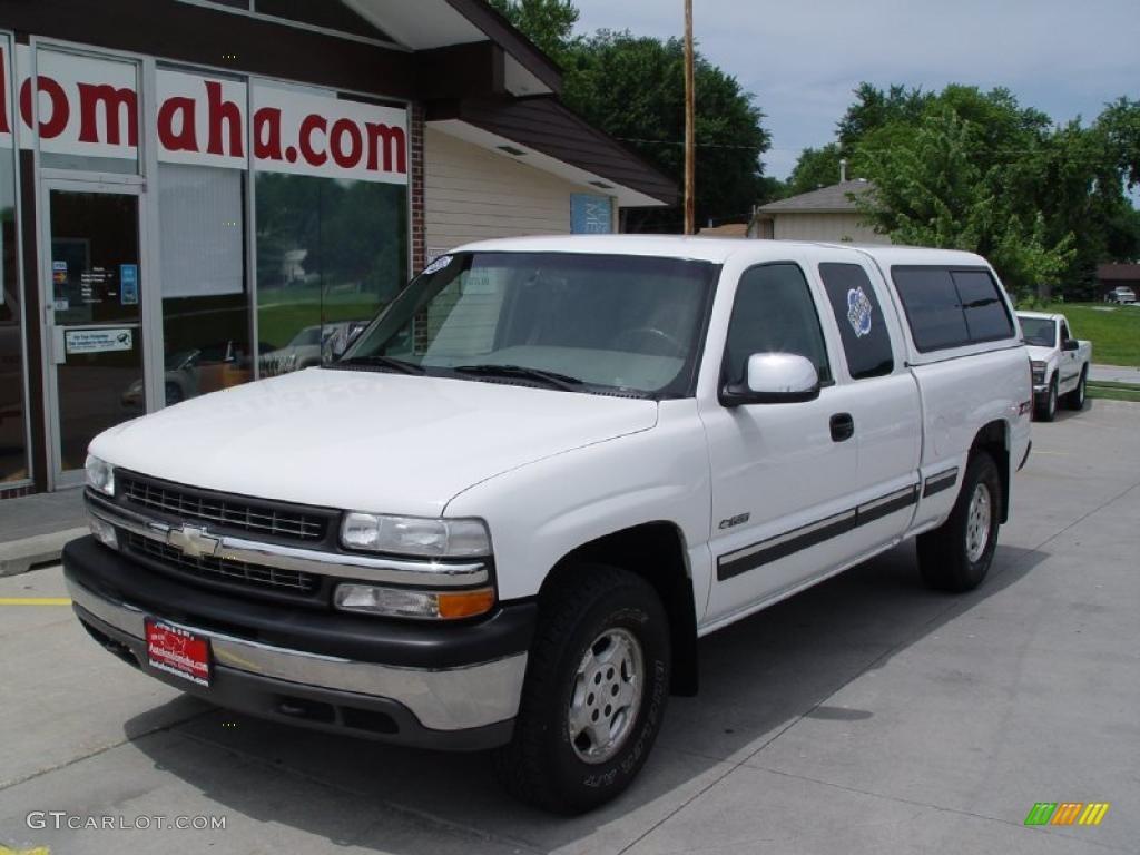 2000 Silverado 1500 LS Extended Cab 4x4 - Summit White / Medium Gray photo #3