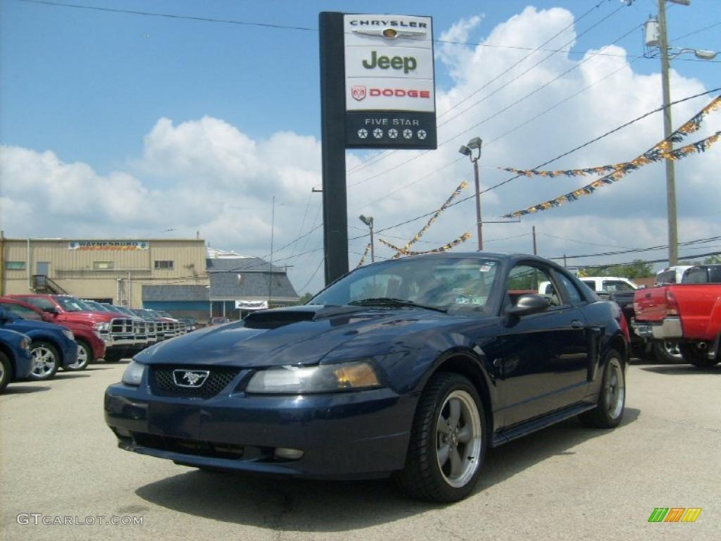 2001 Mustang GT Coupe - True Blue Metallic / Medium Graphite photo #1