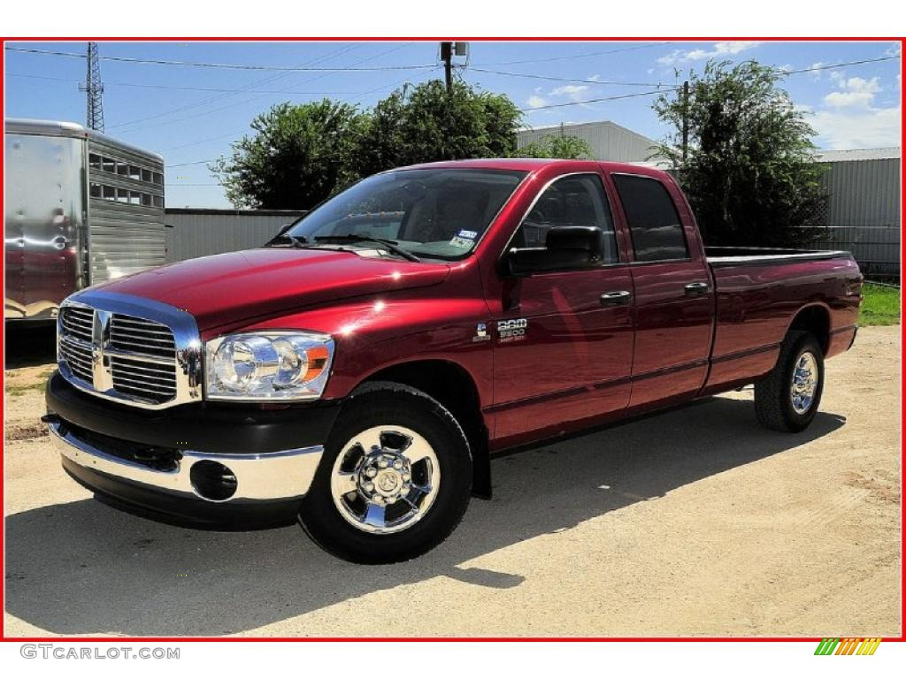 2008 Ram 3500 Big Horn Edition Quad Cab - Inferno Red Crystal Pearl / Medium Slate Gray photo #1