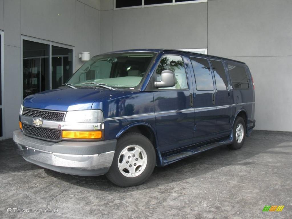 2004 express 1500 passenger conversion van indigo blue metallic medium dark pewter photo