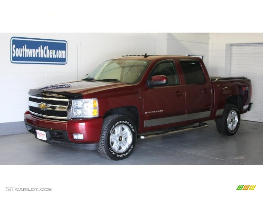 2008 silverado 1500 ltz crew cab 4x4 deep ruby metallic ebony photo 1
