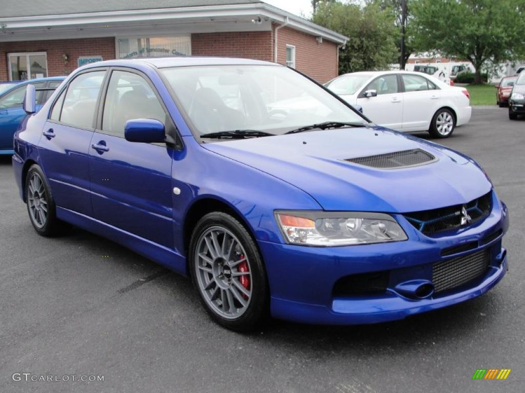 2006 lancer evolution ix electric blue black alcantara photo 1