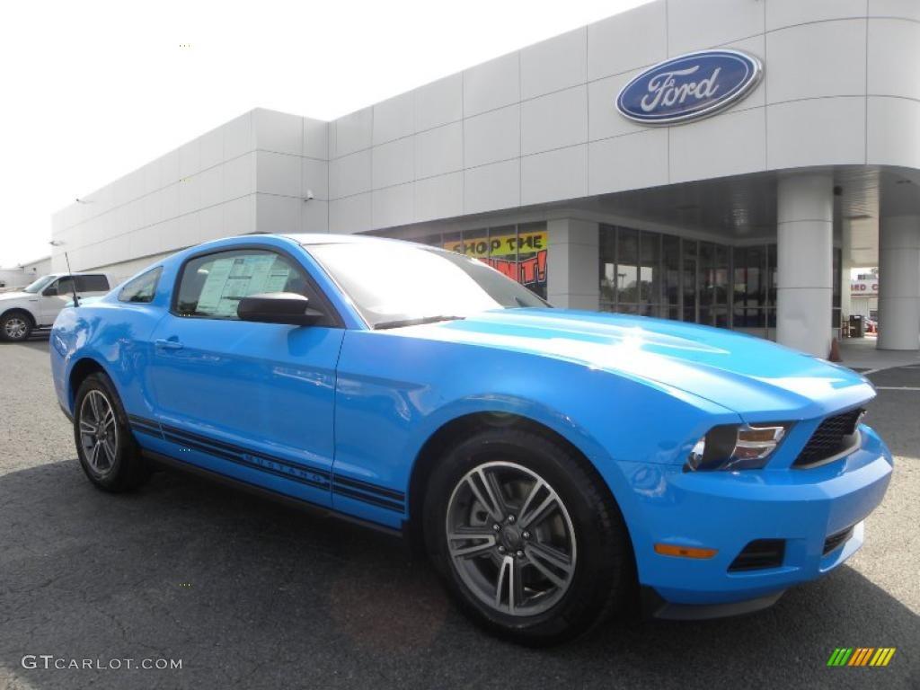 2011 Mustang V6 Premium Coupe - Grabber Blue / Charcoal Black photo #1