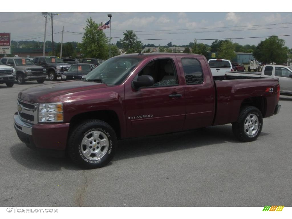 2009 Silverado 1500 LT Extended Cab 4x4 - Deep Ruby Red Metallic / Light Titanium photo #1