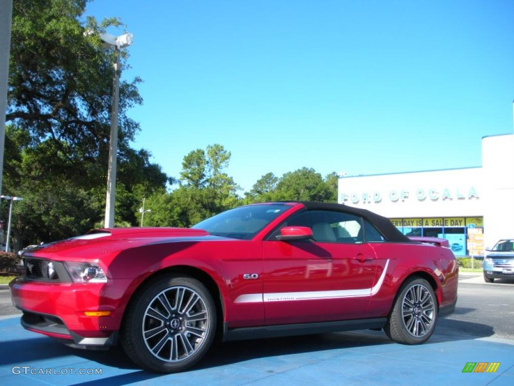 2011 Mustang GT Premium Convertible - Red Candy Metallic / Stone photo #1