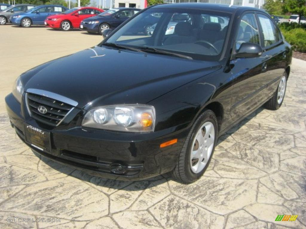 2005 black obsidian hyundai elantra gls sedan 33936129. Black Bedroom Furniture Sets. Home Design Ideas