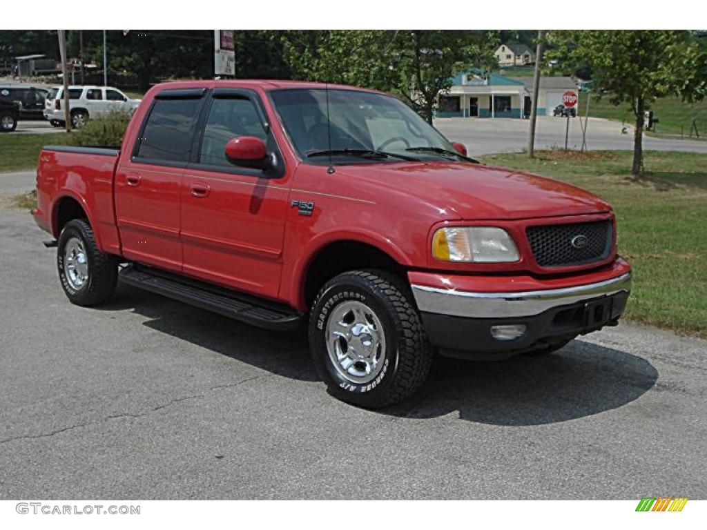2001 Bright Red Ford F150 Lariat Supercrew 4x4 33936142