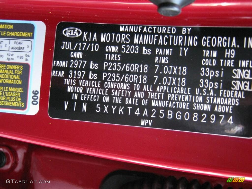 2011 Sorento LX V6 - Spicy Red / Beige photo #25