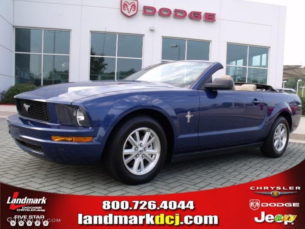 2007 Mustang V6 Deluxe Convertible - Vista Blue Metallic / Medium Parchment photo #1