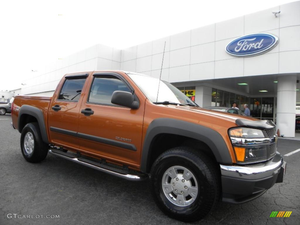 2005 colorado z71 crew cab 4x4 sunburst orange metallic medium dark pewter photo