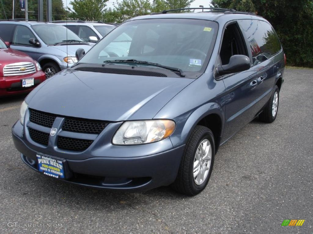 2002 Grand Caravan Sport   Steel Blue Pearl / Navy Blue Photo #1