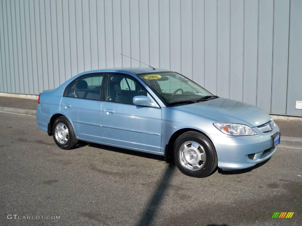 2005 opal silver blue metallic honda civic hybrid sedan