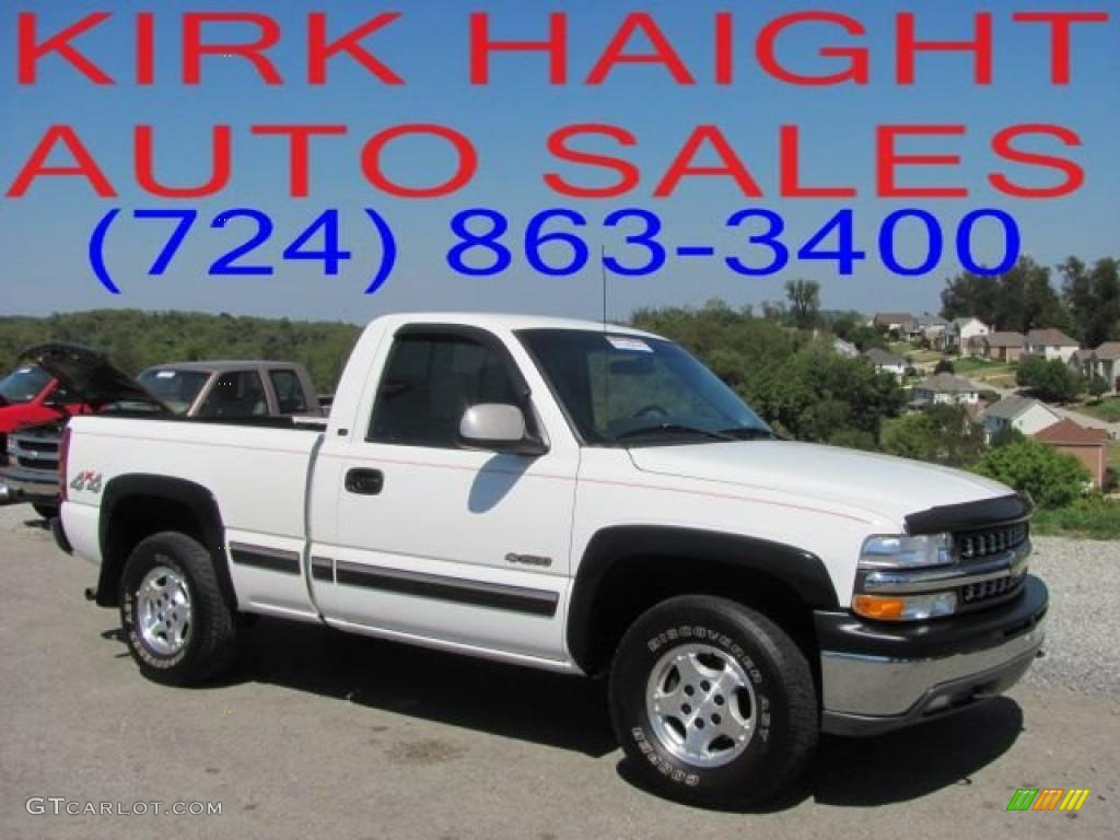 2000 Silverado 1500 LS Regular Cab 4x4 - Summit White / Graphite photo #1
