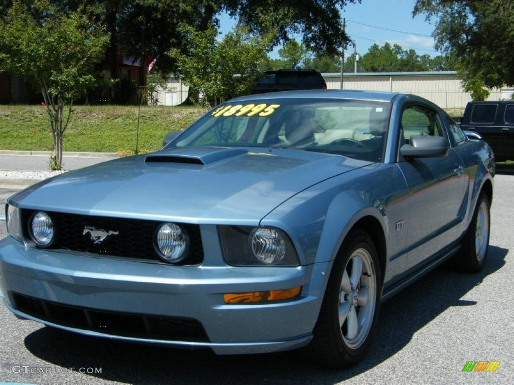 2007 Mustang GT Premium Coupe - Windveil Blue Metallic / Medium Parchment photo #1