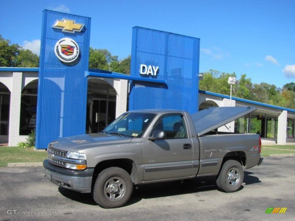 2002 Silverado 1500 LS Regular Cab 4x4 - Light Pewter Metallic / Graphite Gray photo #1